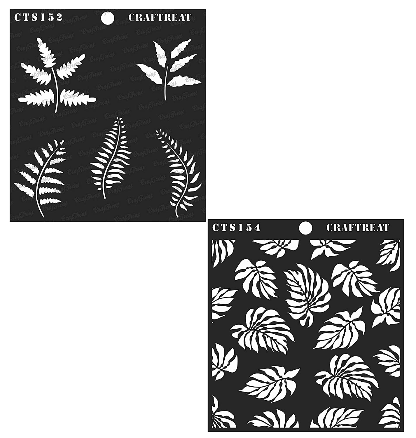 Craftreat Stencil - Ferns and Tropical Leaves (2 pcs) - Reusable Painting Template for Journal, Home Decor, Crafting, DIY Albums, Scrapbook and Printing on Paper, Floor, Wall, Tile, Fabric 6x6 inches
