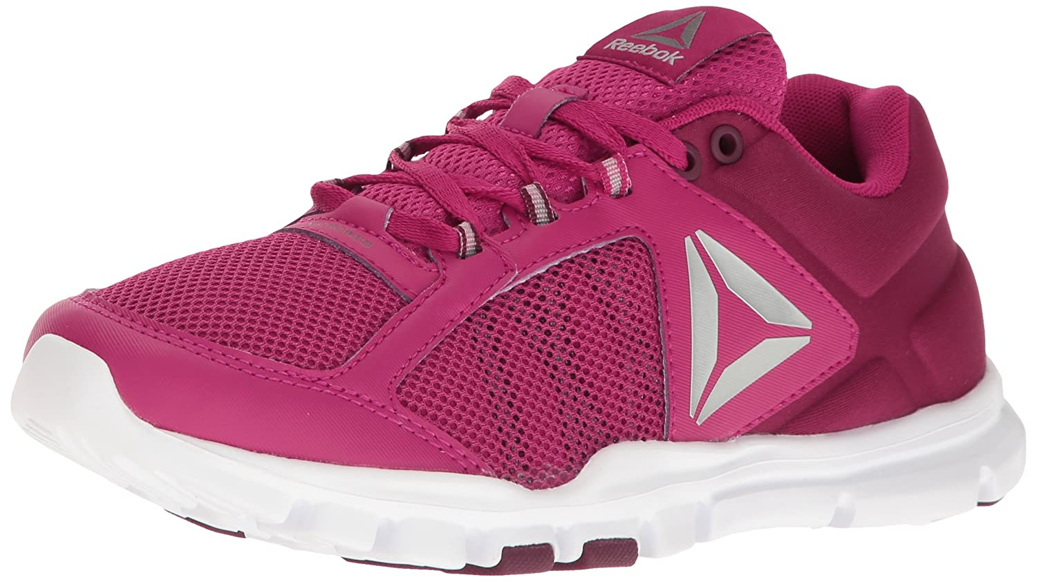 Reebok Women's Yourflex Trainette 9.0 MT Cross-Trainer Shoe B01I0E5AMU 7.5 B(M) US|Manic Cherry/Rustic Wine/White/Metallic Silver/Grey