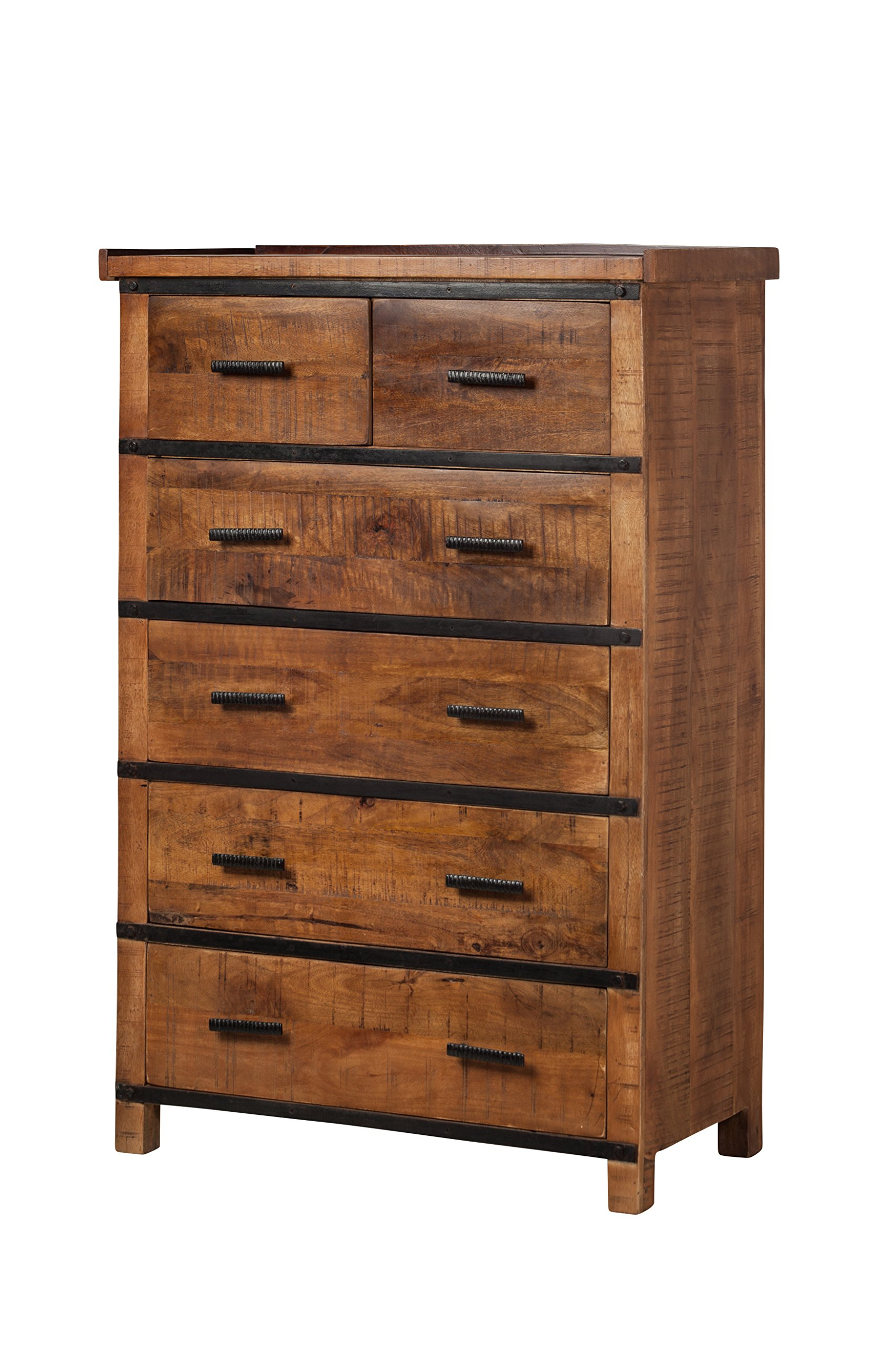 Owen Reclaimed Mango Wood Tall Dresser for Bedroom 6 Drawer Narrow Midcentury Modern Classic Retro Art Deco Industrial Farmhouse Rustic Country Living Handmade in India Style Designer Furniture Piece