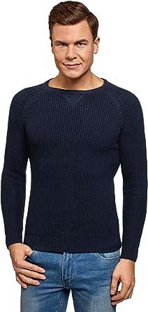 TALLA XL. oodji Ultra Hombre Jersey de Algodón con Cuello Redondo