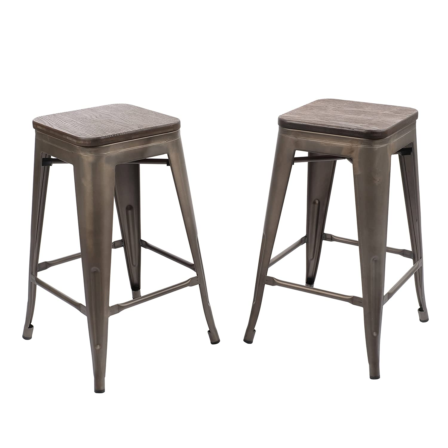 Primo International 28336 Corban 30 Metal Bar Stools, Set of 2, Gunmetal/Oak, Gunmetal/Oak