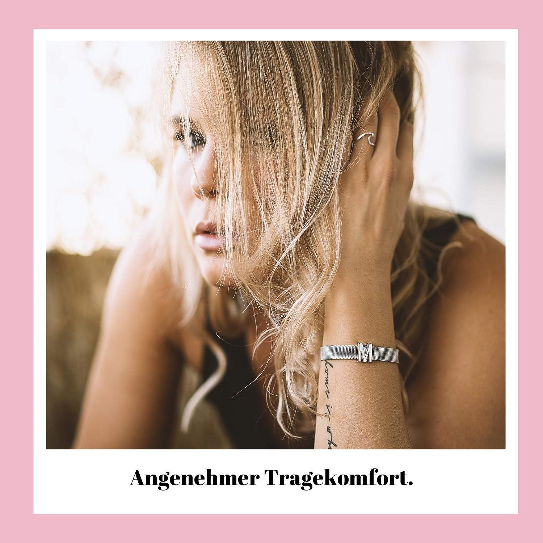 GOOD.designs ® Donne Bracciale (Venduto separatamente) Meshband con Ciondolo Charms Argento Lettera D
