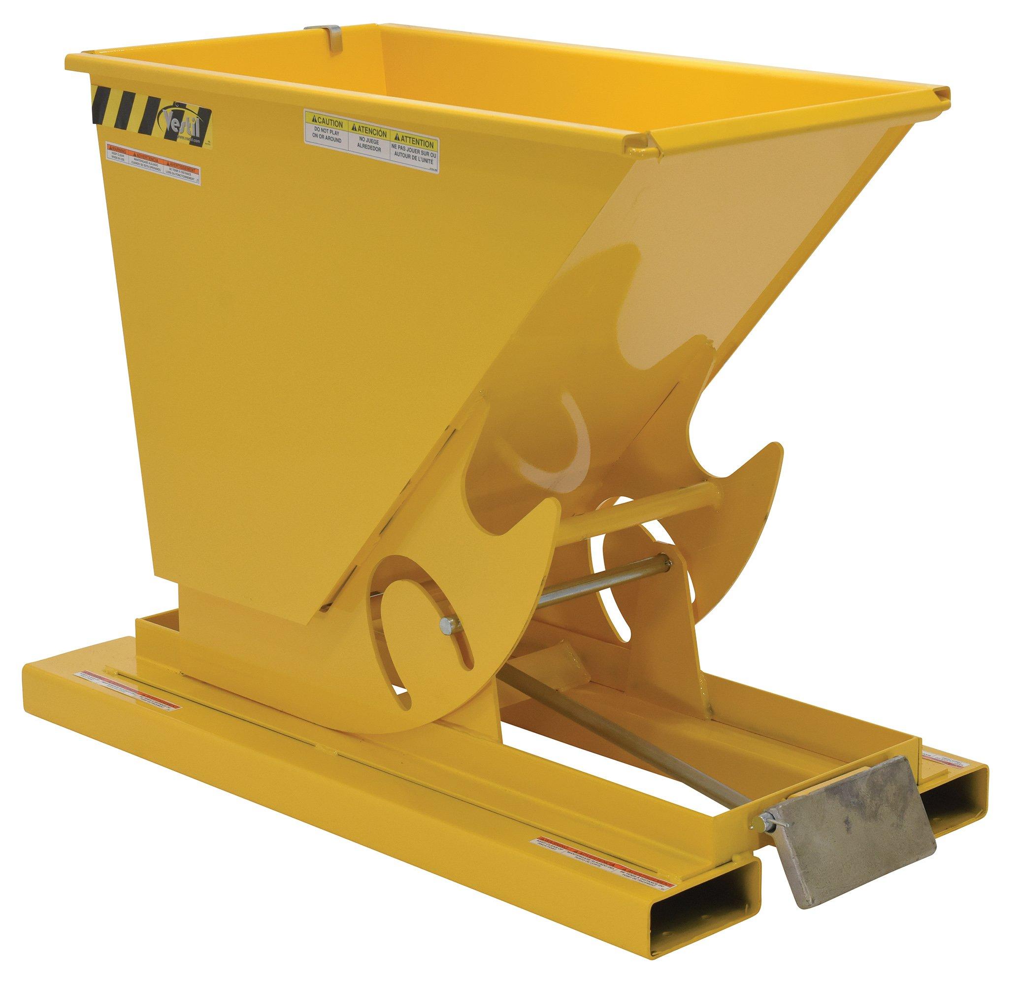 Vestil D-25-LD-YEL Self-Dump LD Hopper, 0.25 cu. yd, 2000 lb. Capacity, Overall L x W x H (in.) 51-7/8'' x 26'' x 38'', Yellow