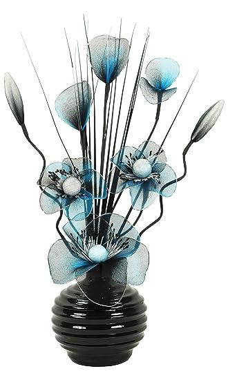 Türkis Blau Schwarz Künstliche Blumen Mit Schwarz Vase, Deko,  Wohnaccessoires & Deko Geeignet für Bad, Schlafzimmer Oder Küche Fenster /  Regal, 32cm