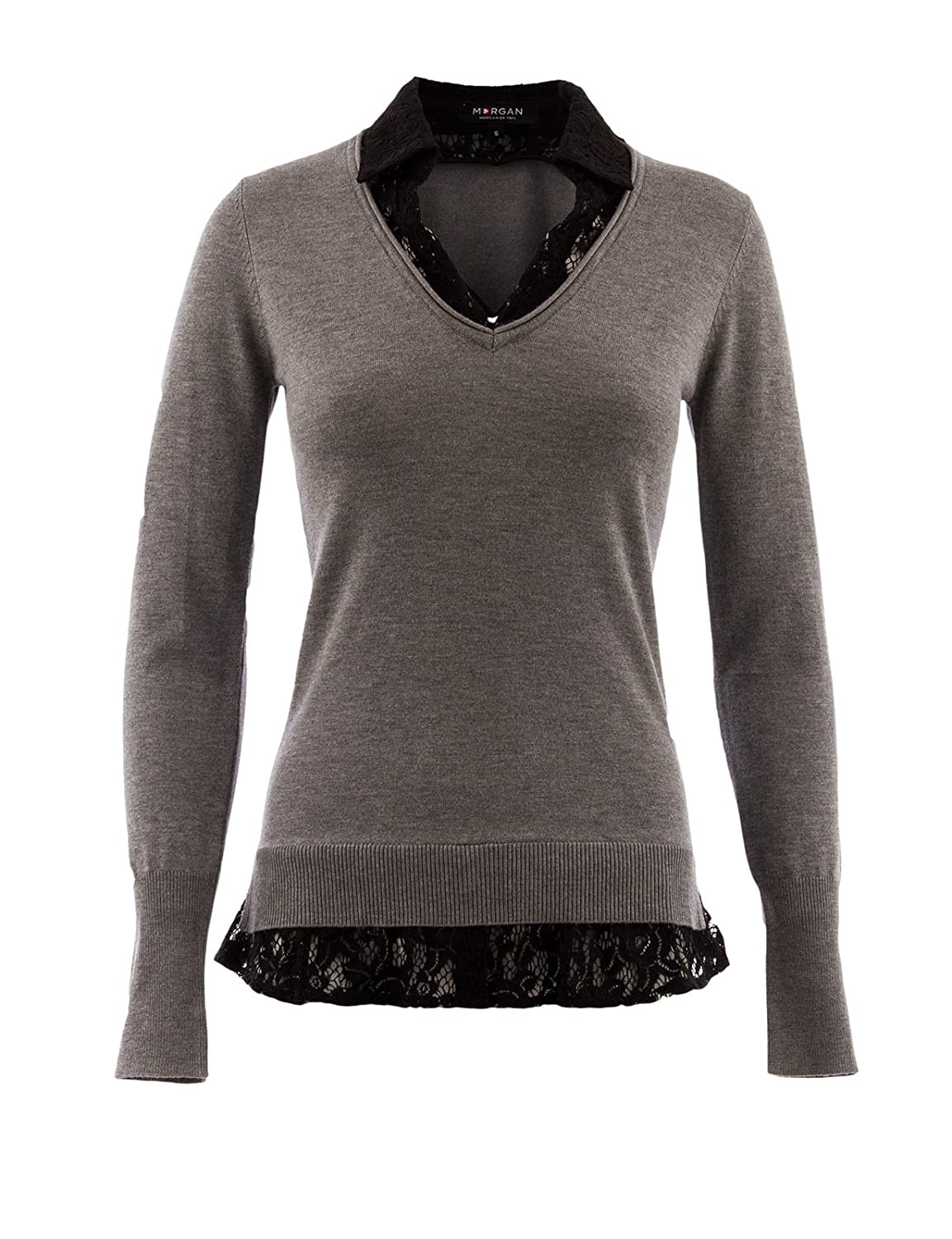 Uni Manches longues Pull Femme Col polo Morgan