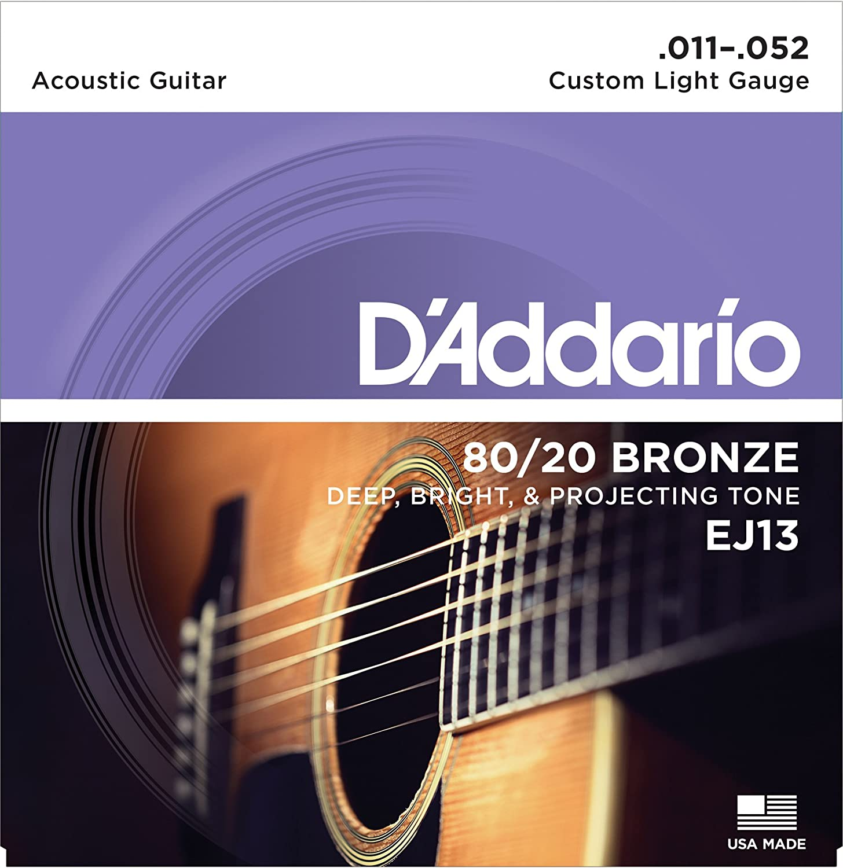 D'Addario EJ13 80/20 Bronze Acoustic Guitar Strings, Custom Light, 11-52 D'Addario