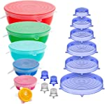 Holikme 16 Pack Silicone Stretch Lids Reusable Durable Fit Different sizes