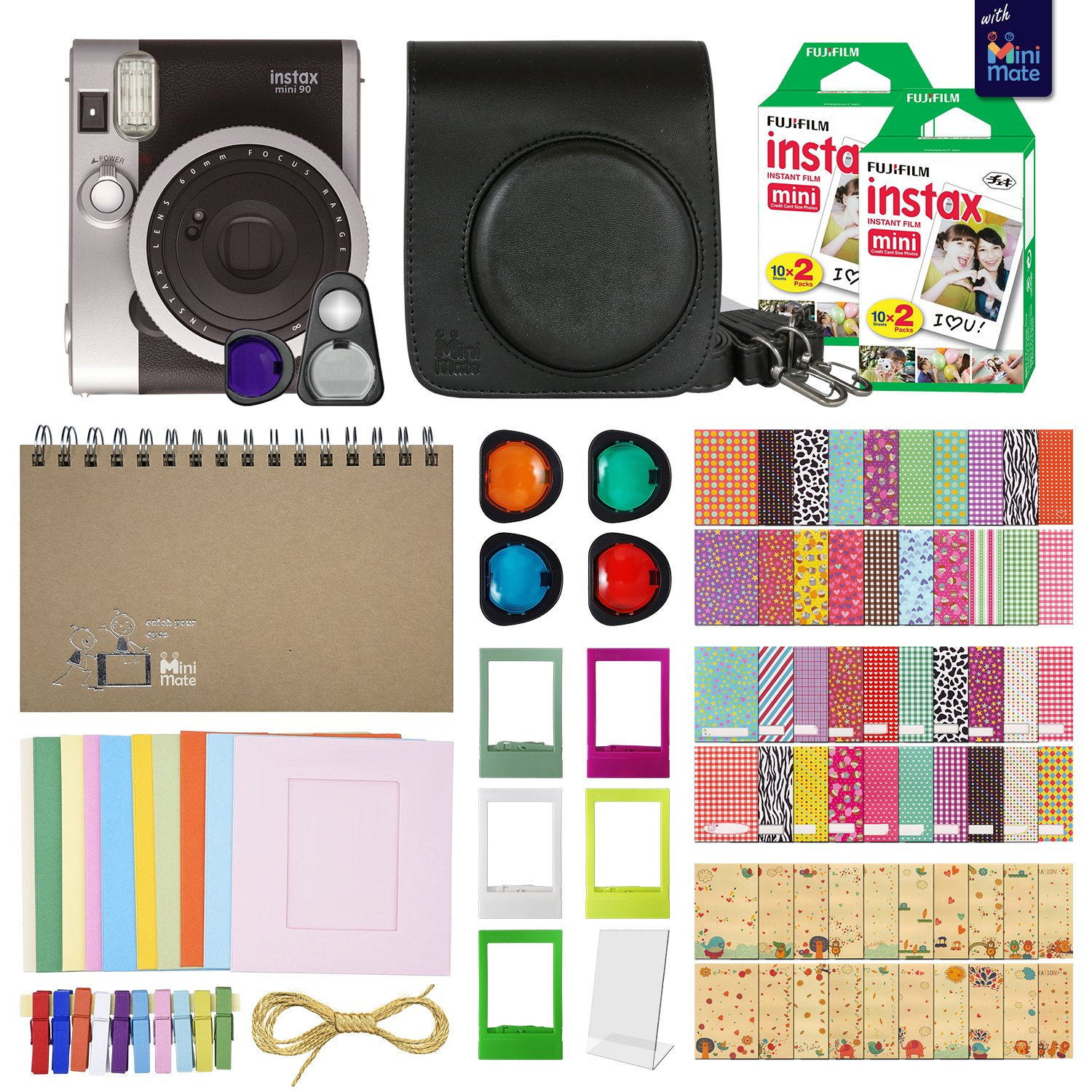 Fujifilm Instax Mini 90 Neo Classic Instant Film Camera (Black) with 40 Instant Film + MiniMate Accessory Bundle. PU Leather Case, Frames, Retro Photo Album, Selfie Lens, Colored Filters and More by MiniMate