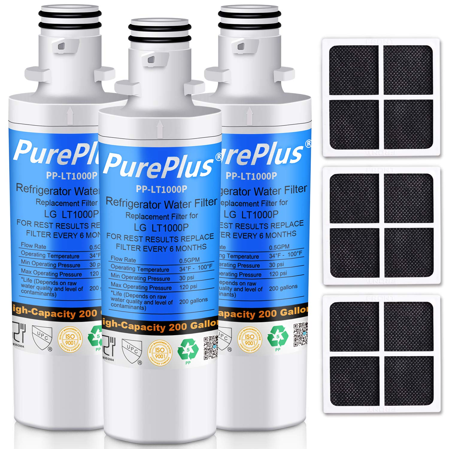 PUREPLUS MDJ64844601 Refrigerator Water Filter, Compatible with LG LT1000P, LT1000, LT1000PC, 9980, ADQ747935, ADQ74793501, ADQ74793502, LMXS30796S, LMXC23796S and LG LT120F Air Filter Combo, 3-Pack