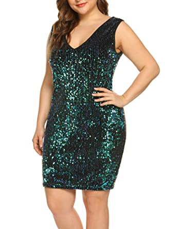 5a0626fcd3a IN'VOLAND Womens Sequin Dress Plus Size Sexy Party Cocktail Bodycon Formal  Prom V Neck