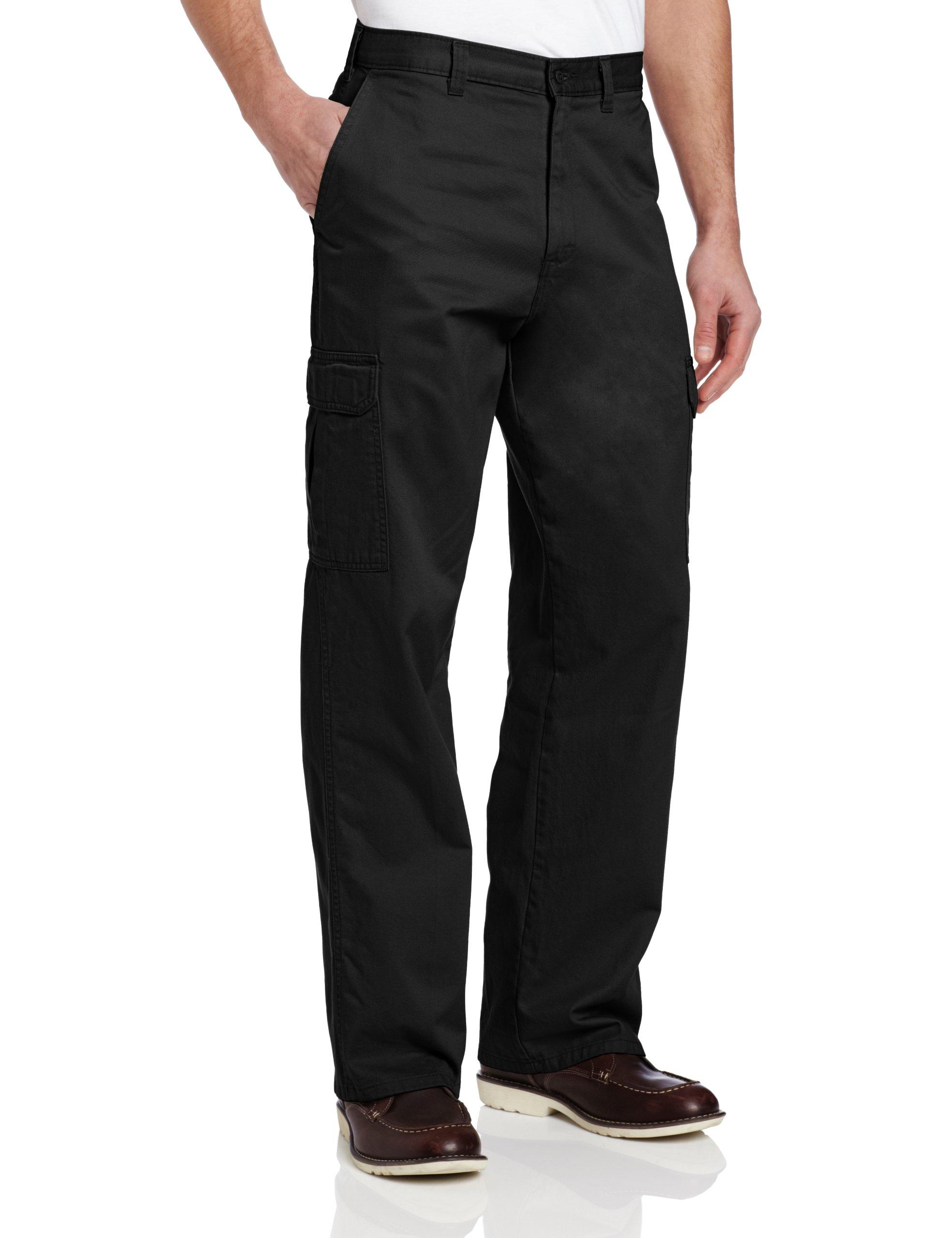 Dickies Men's Loose Fit Cargo Work Pant, Black, 38x32