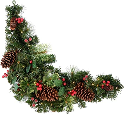 Mr Crimbo Pre Lit Decorated Artificial Christmas Swag Green Branches With Pine Cones Holly Berries Warm White Led Lights Indoor Outdoor Xmas Decoration 3ft Amazon Co Uk Kitchen Home