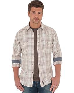 Wrangler Mens Retro Beige Plaid Long Sleeve Snap Shirt - Mvr370m