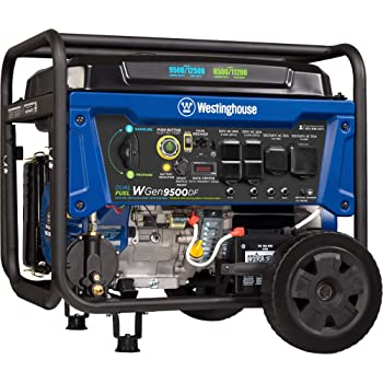 Westinghouse WGen9500DF Dual Fuel Generator-9500 Rated 12500 Peak Watts-Gas or Propane Powered-Electric Start Portable Generator