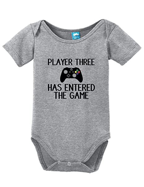 391e13031a0 Player 3 has entered the game Printed Infant Bodysuit Baby Romper Gray 0-3  Month