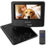 "DBPOWER 7.5""Portable DVD Player, 5 Hour Rechargeable Battery, Swivel Screen, Supports SD Card and USB, Direct Play in Formats AVI/RMVB/MP3/JPEG (Black)"