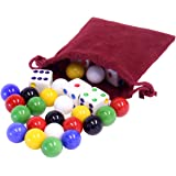 """Game Bag of 24 Replacement Glass Marbles (9/16"""" Diameter) and 6 Dice for Aggravation Game"""