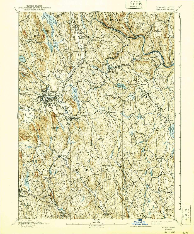 Topographic Map Ct.Amazon Com Yellowmaps Danbury Ct Topo Map 1 62500 Scale 15 X 15