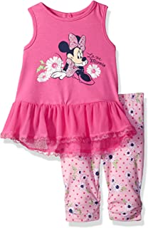 Disney Girls 2 Piece Minnie Mouse Crinkle Chiffon Capri Legging Set