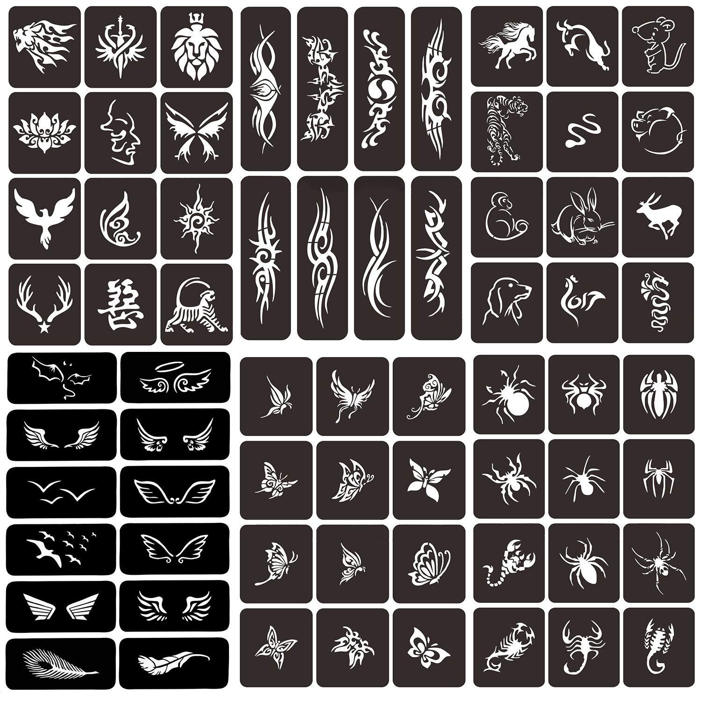 Glitter Henna Tattoo Stencil+68 Big Sheet Self-adhesive Temporary Tattoo Templates for Children, Teenagers & Adults Body Art Drawing