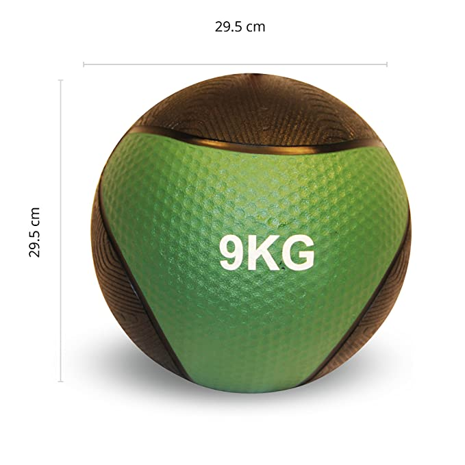POWRX - Balón Medicinal 9 kg + PDF Workout (Verde Oscuro): Amazon ...