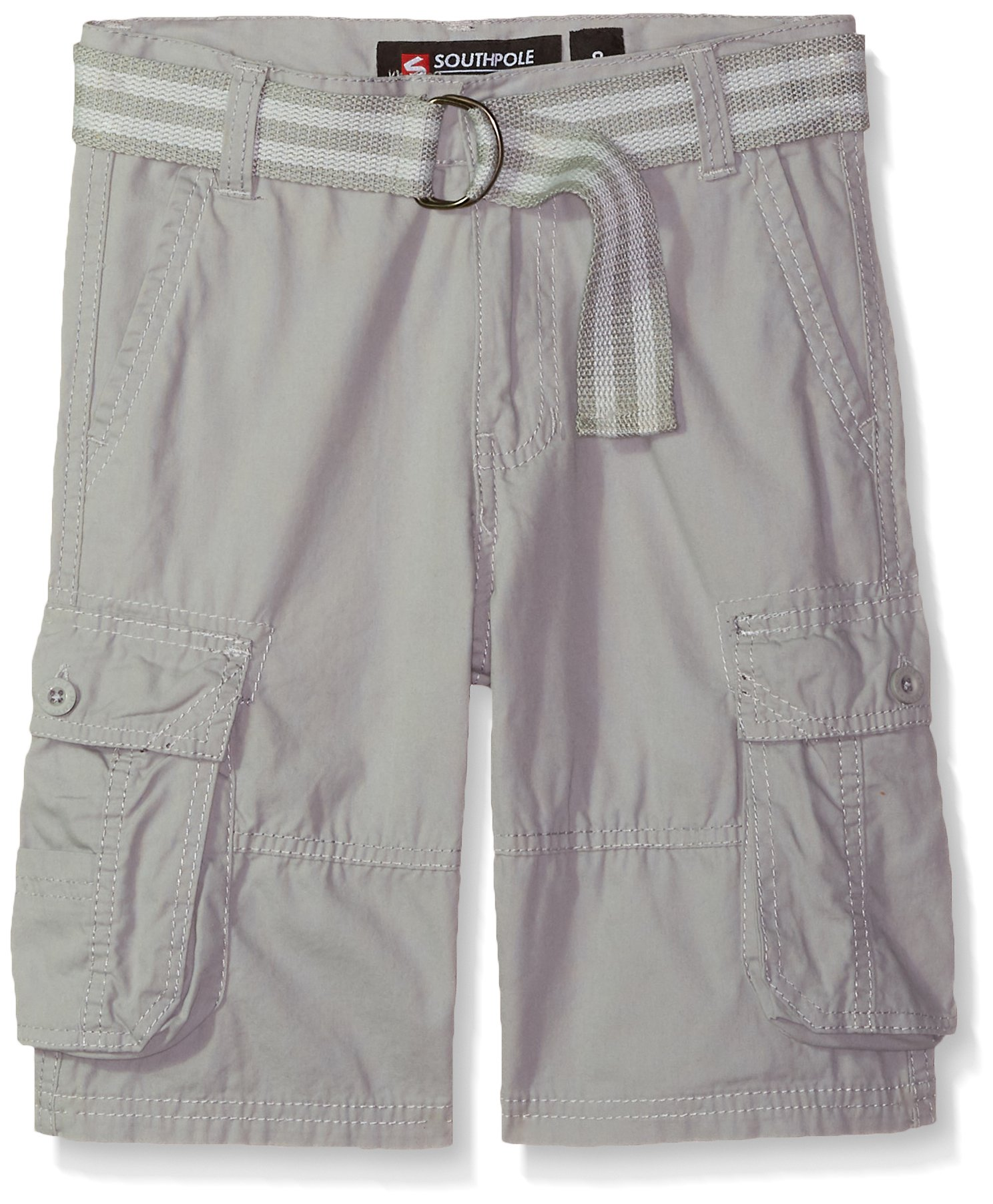 Southpole Big Boys' Belted Mini Canvas Cargo Shorts In Various Colors, Light Grey, 14
