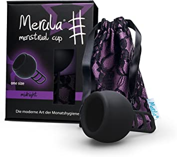 Merula Cup midnight (negro) - Tamaño único copa menstrual de silicona de grado médico