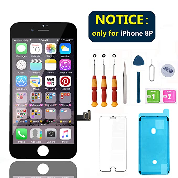 new style dda36 45be3 Swgrdin 3D Touch Screen Assembly for iPhone 8 Plus Screen Replacement Black  5.5