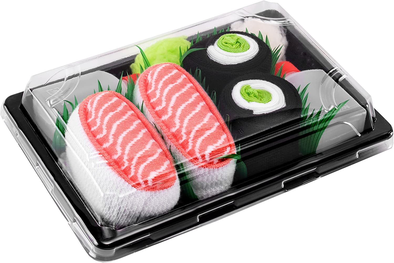 Rainbow Socks - Men's Women's - Sushi Socks Box Salmon Cucumber Maki - 2 Pairs