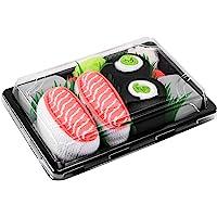 Sushi Socks Box - 2 paia di CALZINI SUSHI: Nigiri Salmone Centrolo Maki, Idea REGALO Divertente, Calze fantasia di COTONE|per Donna e Uomo:EU 36-40, 41-46 Certificato OEKO-TEX, Prodotto in Europa