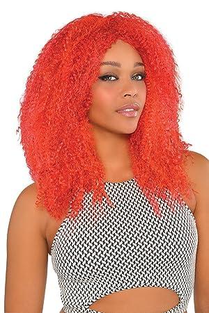 Amscan - Peluca de Pelo Afro para Mujer, Talla única, Color Rojo (999716