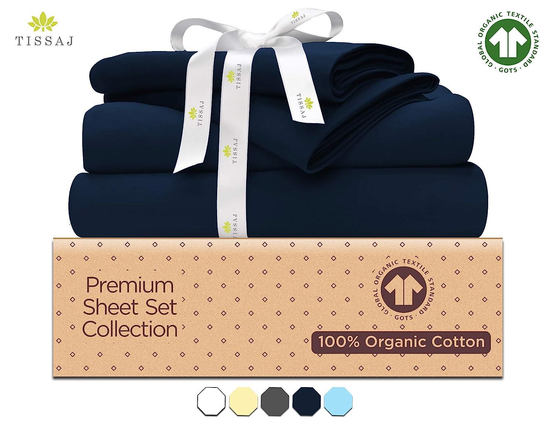 "500-Thread-Count Organic Cotton Bed Sheets-Set - 500TC King Size Navy Blue - 4 Piece Bedding - 100% GOTS Certified Extra Long Staple, Soft Sateen Weave Bedsheets - Fits 15"" Deep Pocket Mattress"