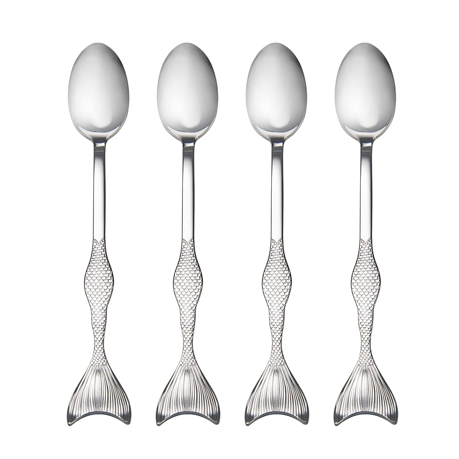 Wallace 5228040 Mermaid Iced Beverage Spoons, One Size, Stainless Steel
