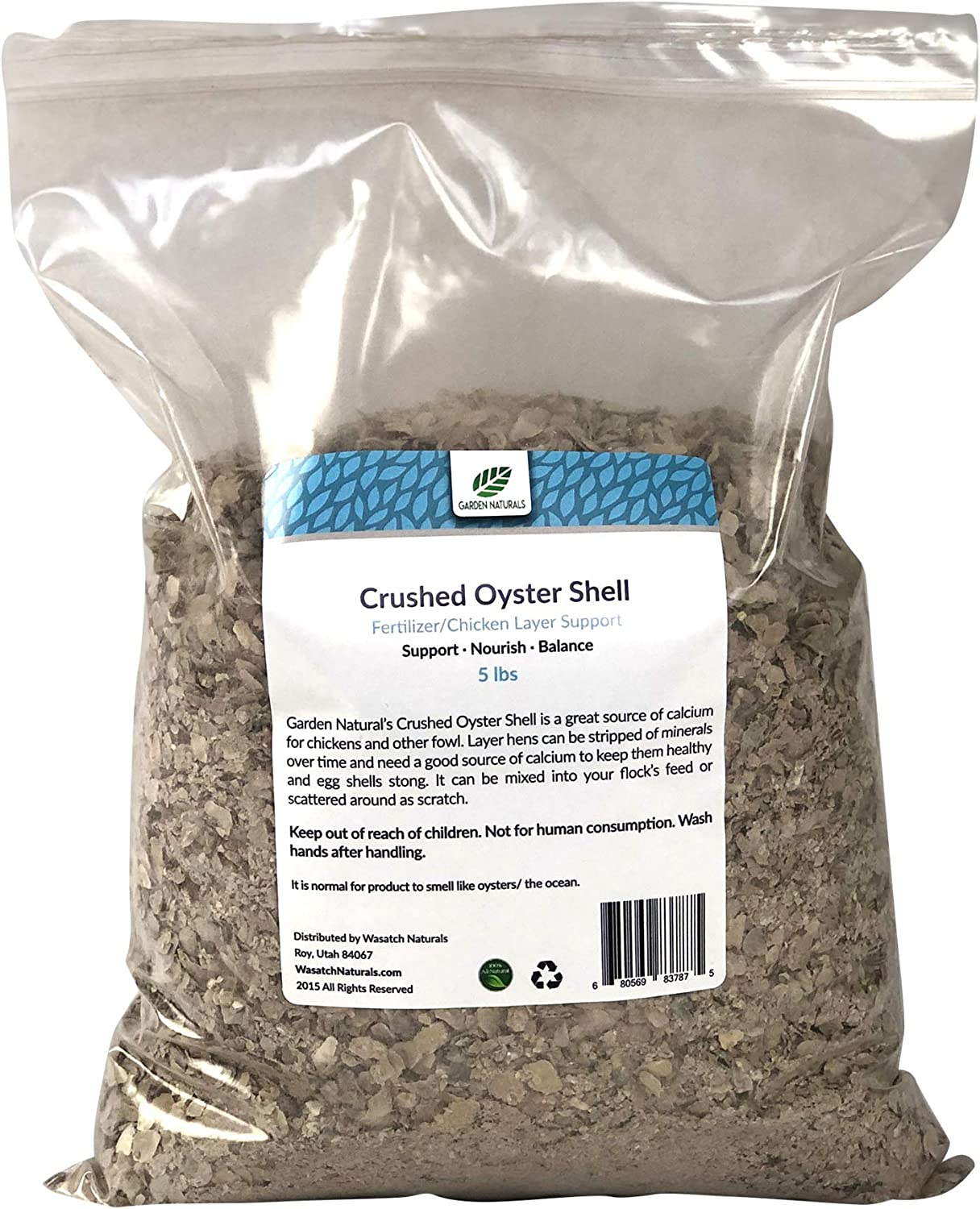5 Pounds All Natural Crushed Oyster Shells for Poultry Birds and Gardens - Garden Naturals