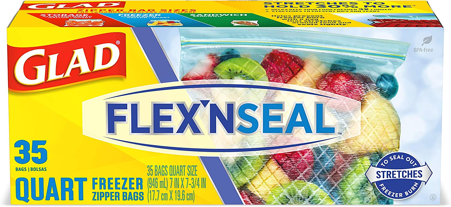 Glad Flex'N Seal Freezer Storage Bags, Quart – 35 Count, Pack of 4 (Package May Vary)