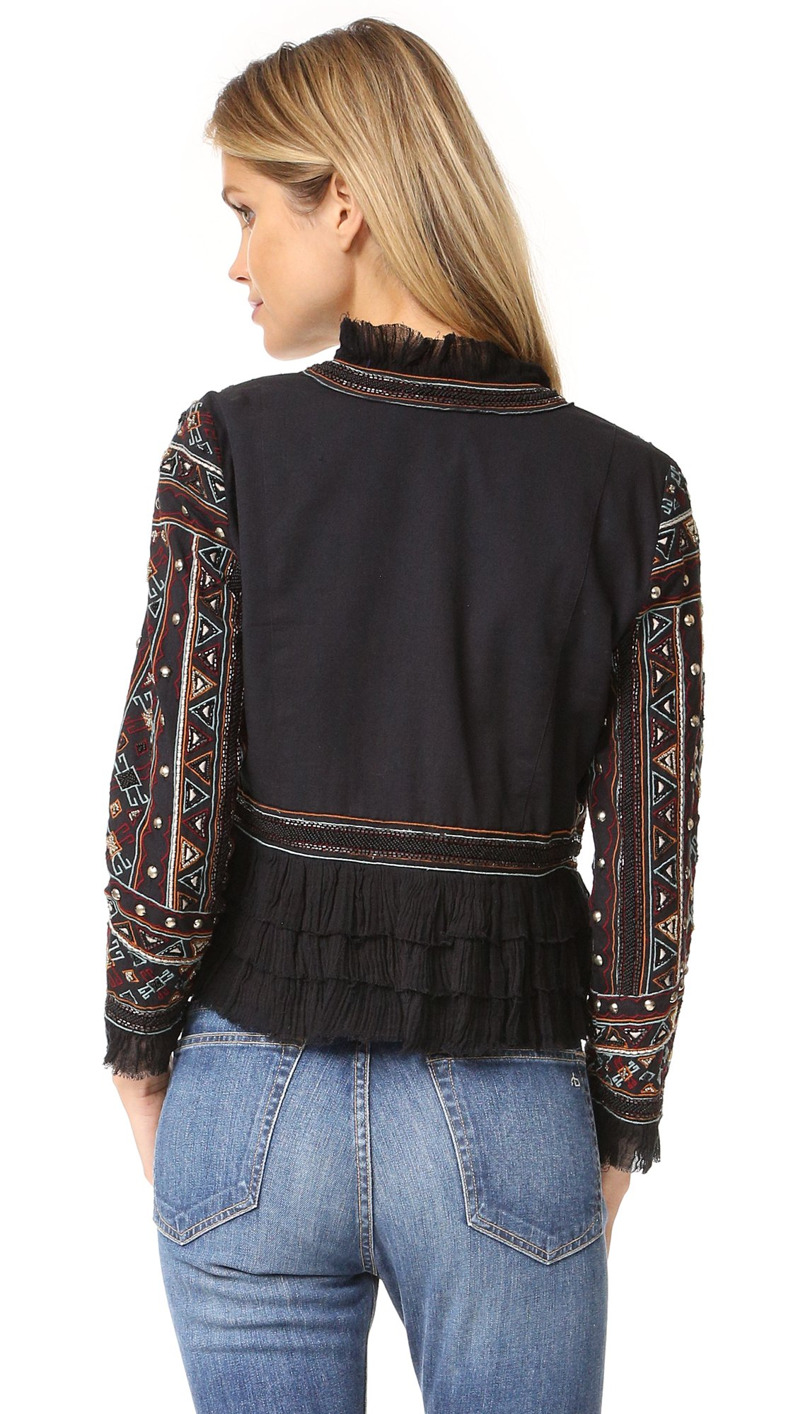 Love Sam Vannes Embroidered Jacket W/Ruffle Trim, Black, XS by Love Sam Vannes Embroidered Jacket, Black, XS (Image #2)