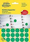 Avery Zweckform Pastilles Adhésives Diamètre 18 Mm Vertes Contenu: 1056 Etiquettes (3376)