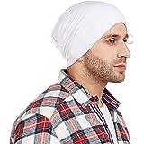 Vimal Jonney White Blended Beanie Beanie Cap For Men-RING_CAP_WHT_01