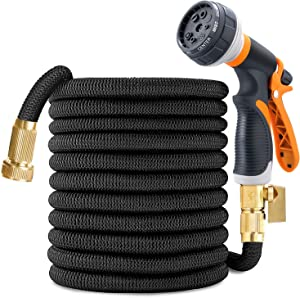50ft Garden Hose, Expandable Leakproof, Durable Lightweight, Flexible Expanding, Double Latex Core, 3/4 Solid Brass Fittings, Extra Strength Fabric, 8 Function Spray Nozzle Water Hose