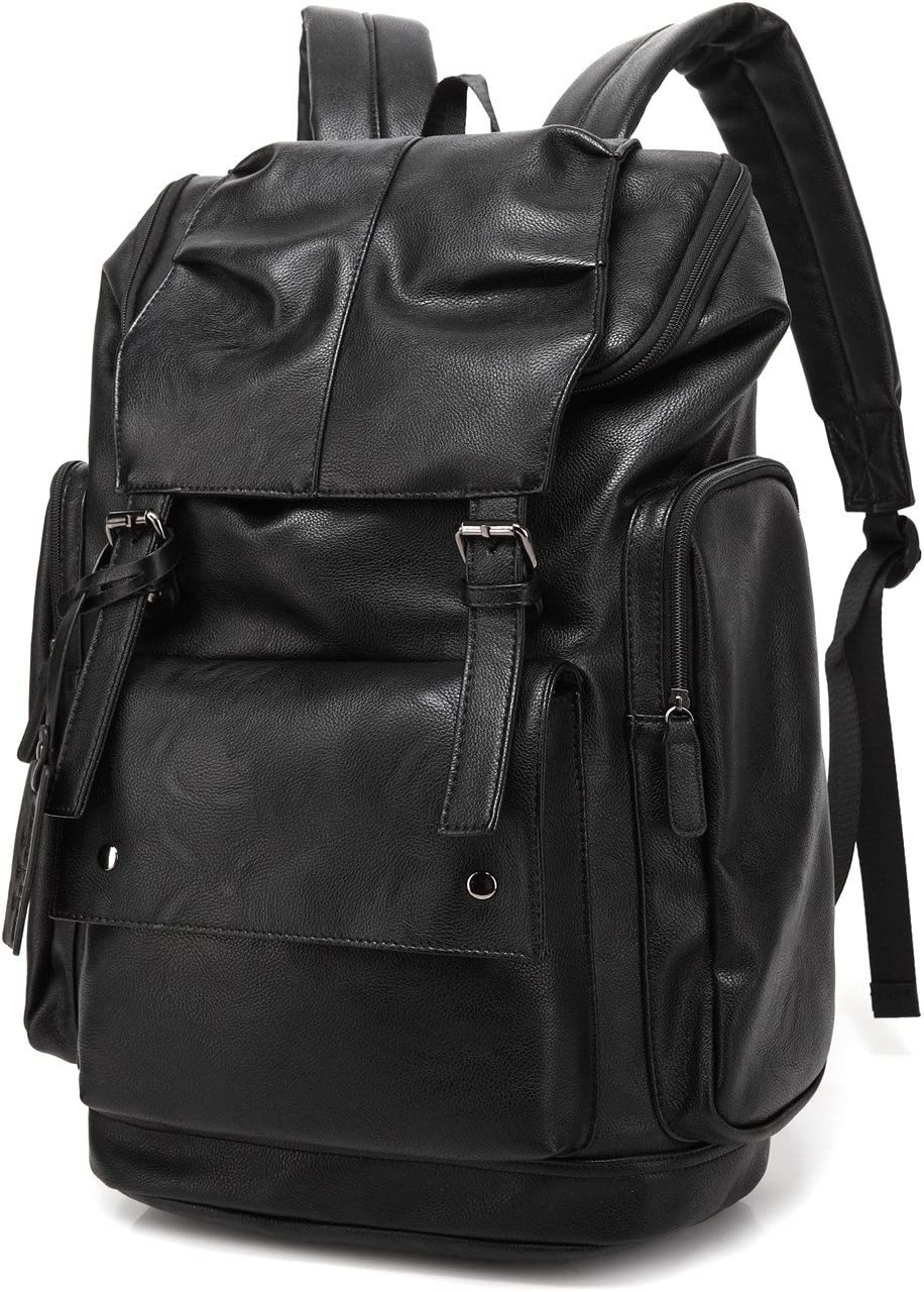 BAOSHA BP-16 PU Leather Casual Backpack College Backpack Daypack Black
