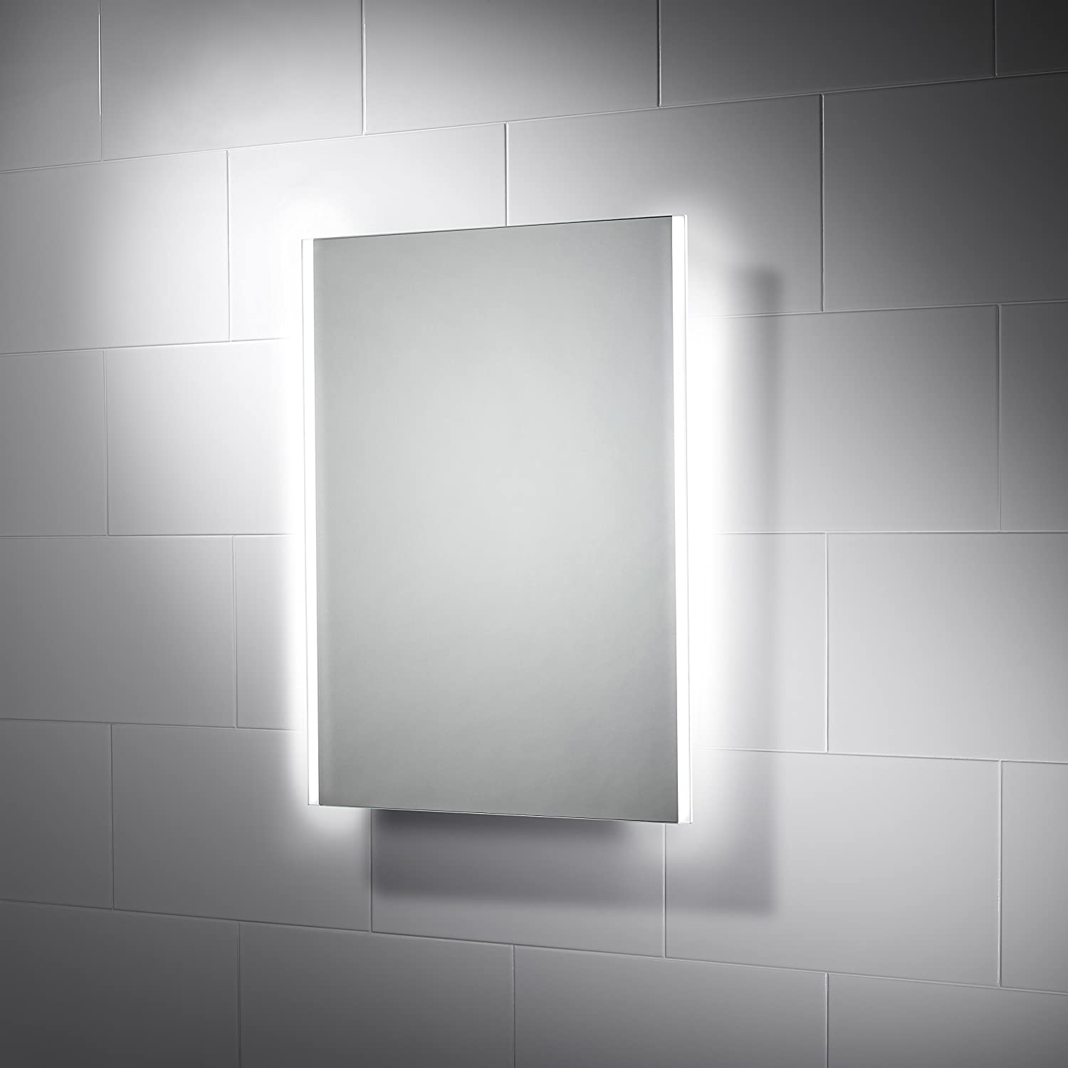 Pebble Grey 390 x 500 mm Bathroom Mirror Bailey LED Illuminated Bathroom Mirror with Shaver Socket & Demister Pad
