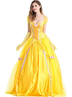 a30b220afc3 Amazon.com  ReliBeauty Womens Princess Belle Costume Layered Dress ...