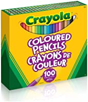 Crayola Coloured Pencils, 100 Count Pencil Crayons, Vibrant colours, Pre-sharpened, Art Tools, Adult Colouring, Bullet...