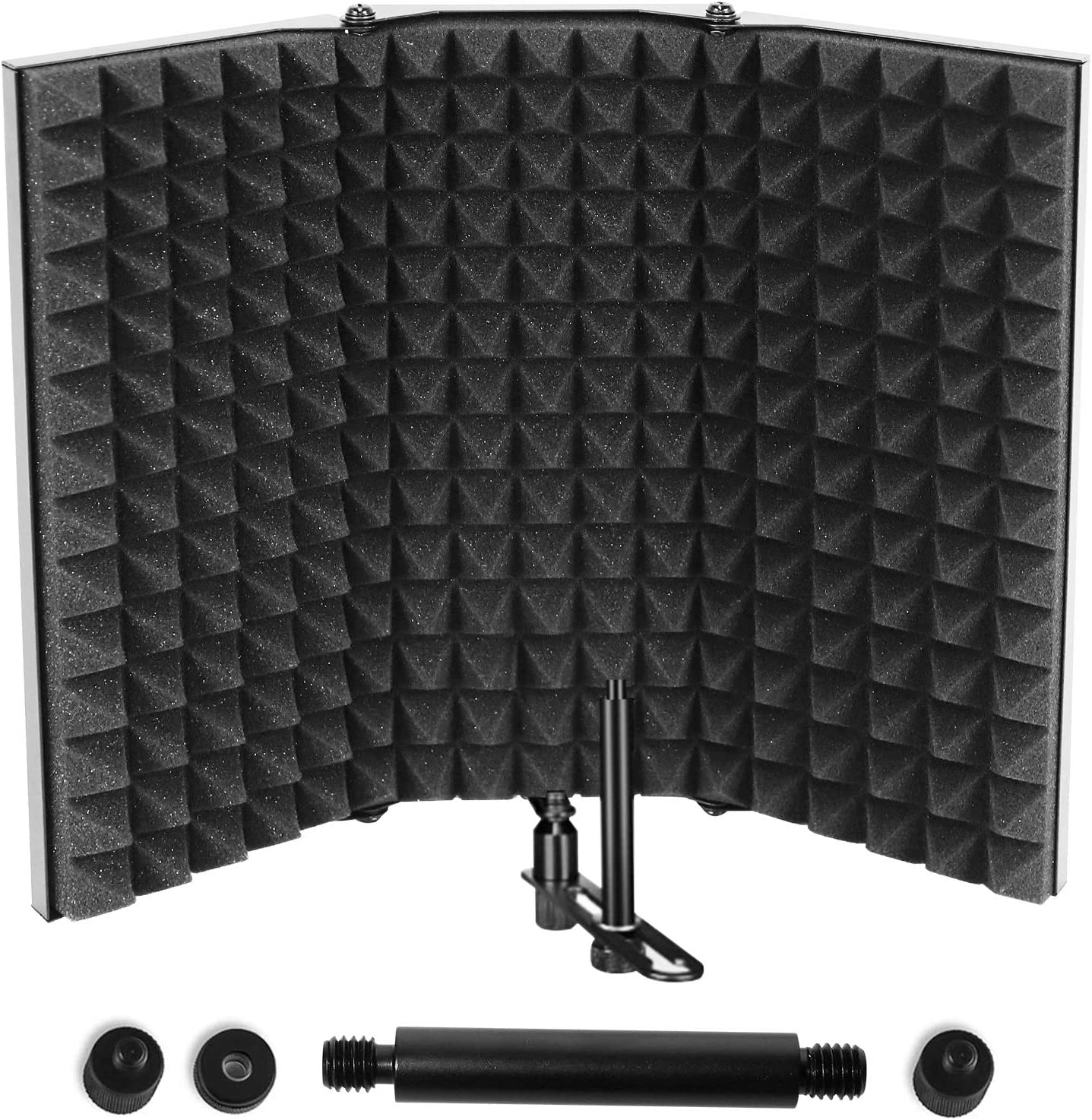 Microphone Isolation Shield, Professional Studio Recording Equipment for Sound Booth, High Density Absorbing Foam Front & Vented Metal Back Plate to Filter vocal, Suitable for Blue Yeti and Other Mic…