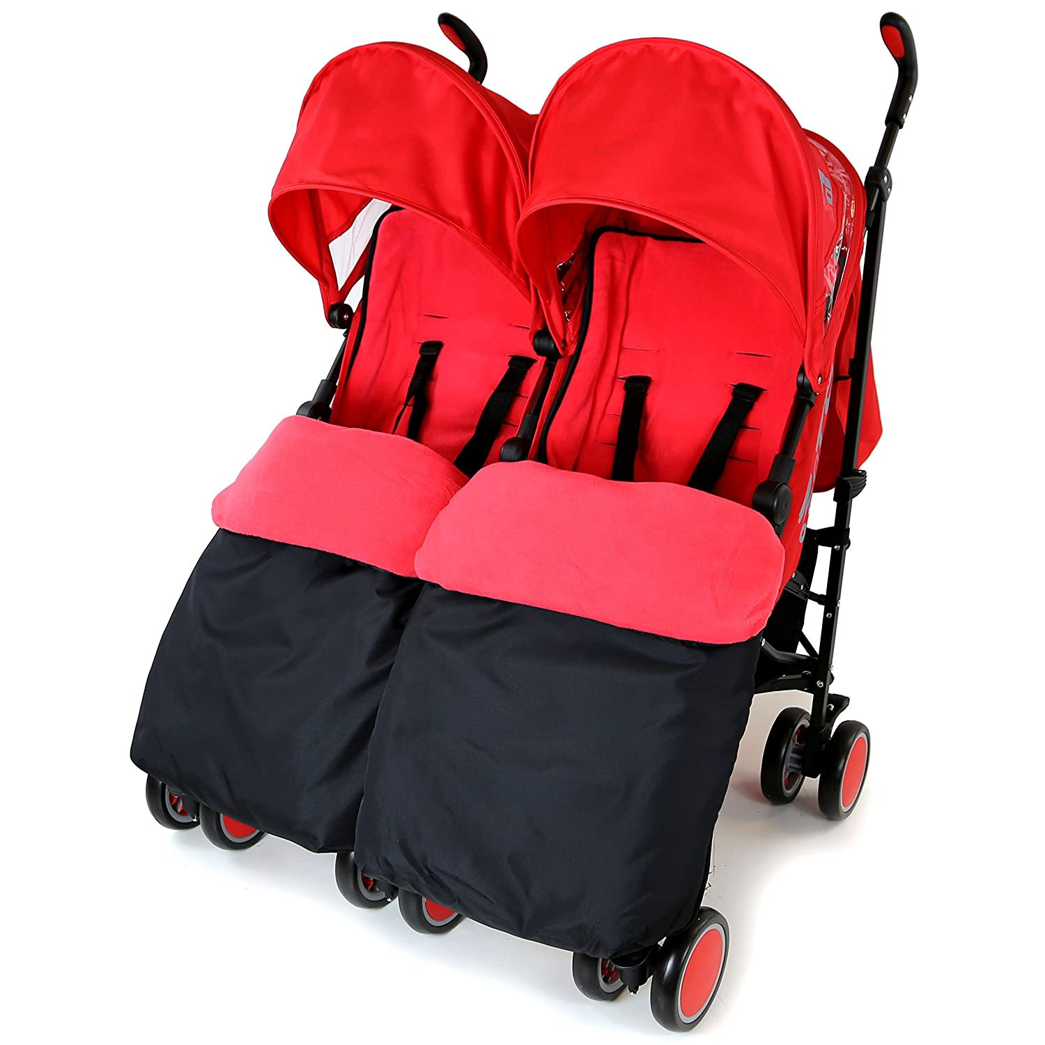 Zeta Citi TWIN Stroller Buggy Pushchair - Warm Red Double Stroller Complete With FootMuffs Baby TravelTM
