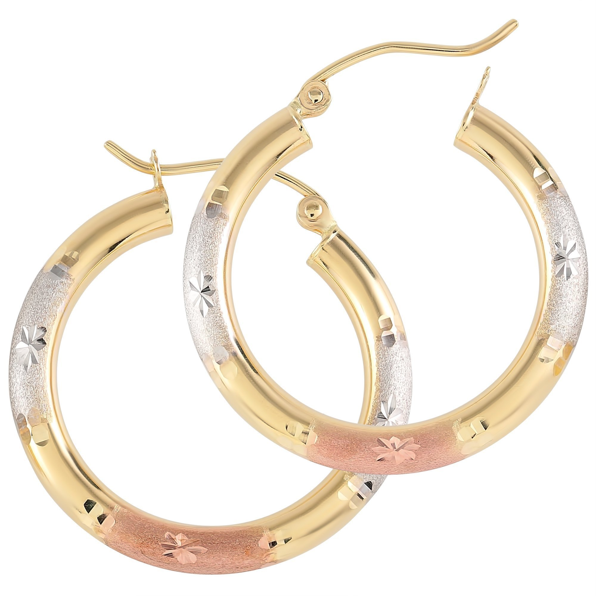 Balluccitoosi Tri Color Round Star Cut Hoop Earrings - 14k Gold Earring for Women and Girls - Unique Jewelry for Everyday