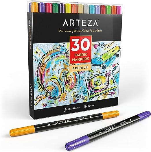 Arteza Rotuladores para tela | Juego de 30 colores | Marcadores ...