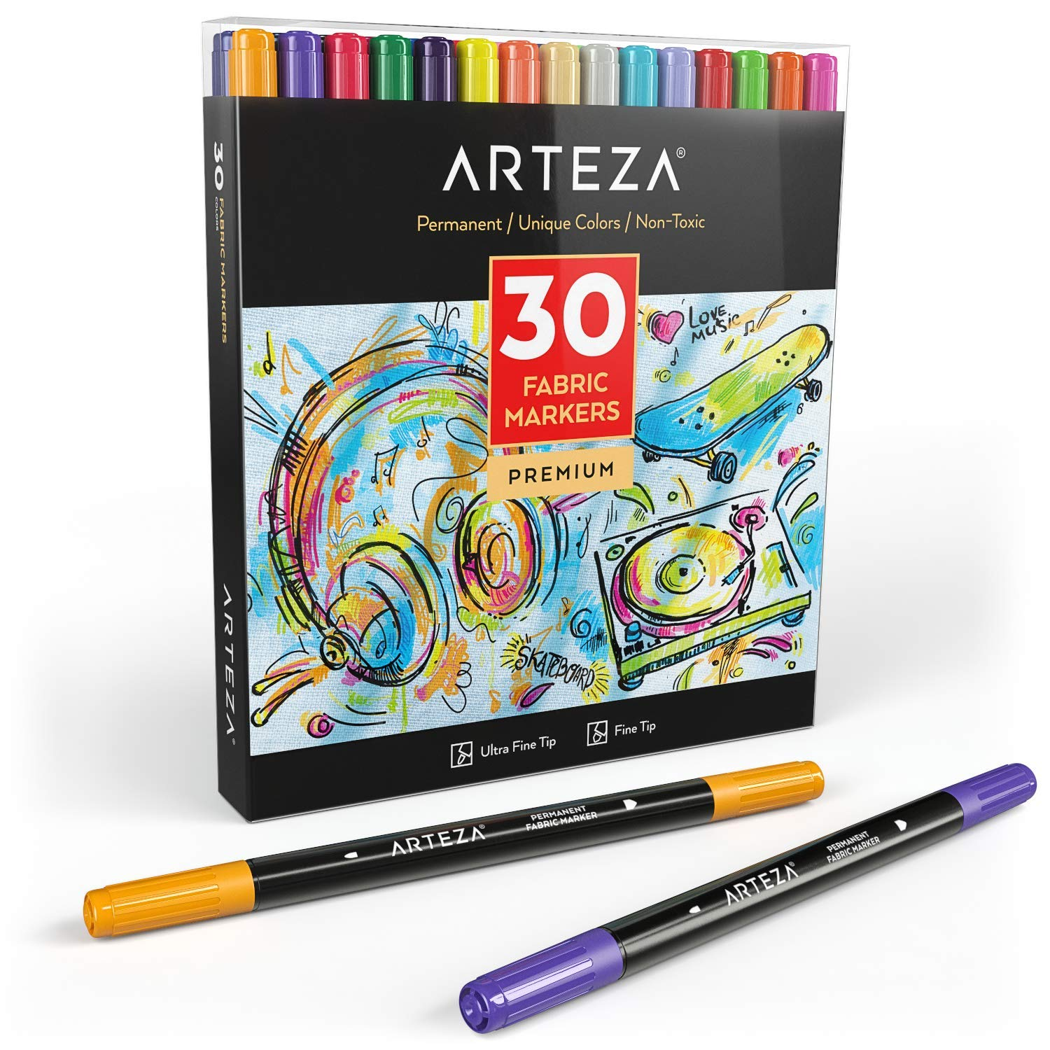 ARTEZA Fabric Markers, Set of 30 Assorted Colors, Permanent and Machine Washable Ink Ideal for Coloring Jeans, T-Shirts, Sneakers, Backpacks, Jackets, and More by ARTEZA
