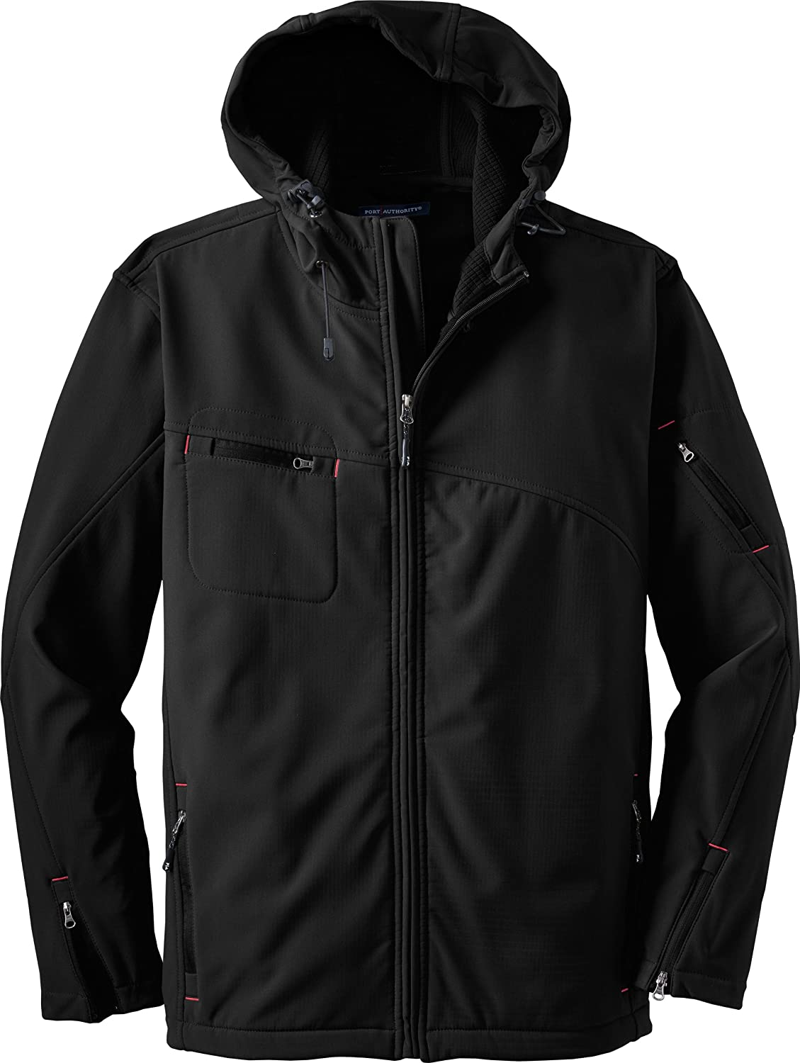 Port Authority Mens Textured Hooded Soft Shell Jacket