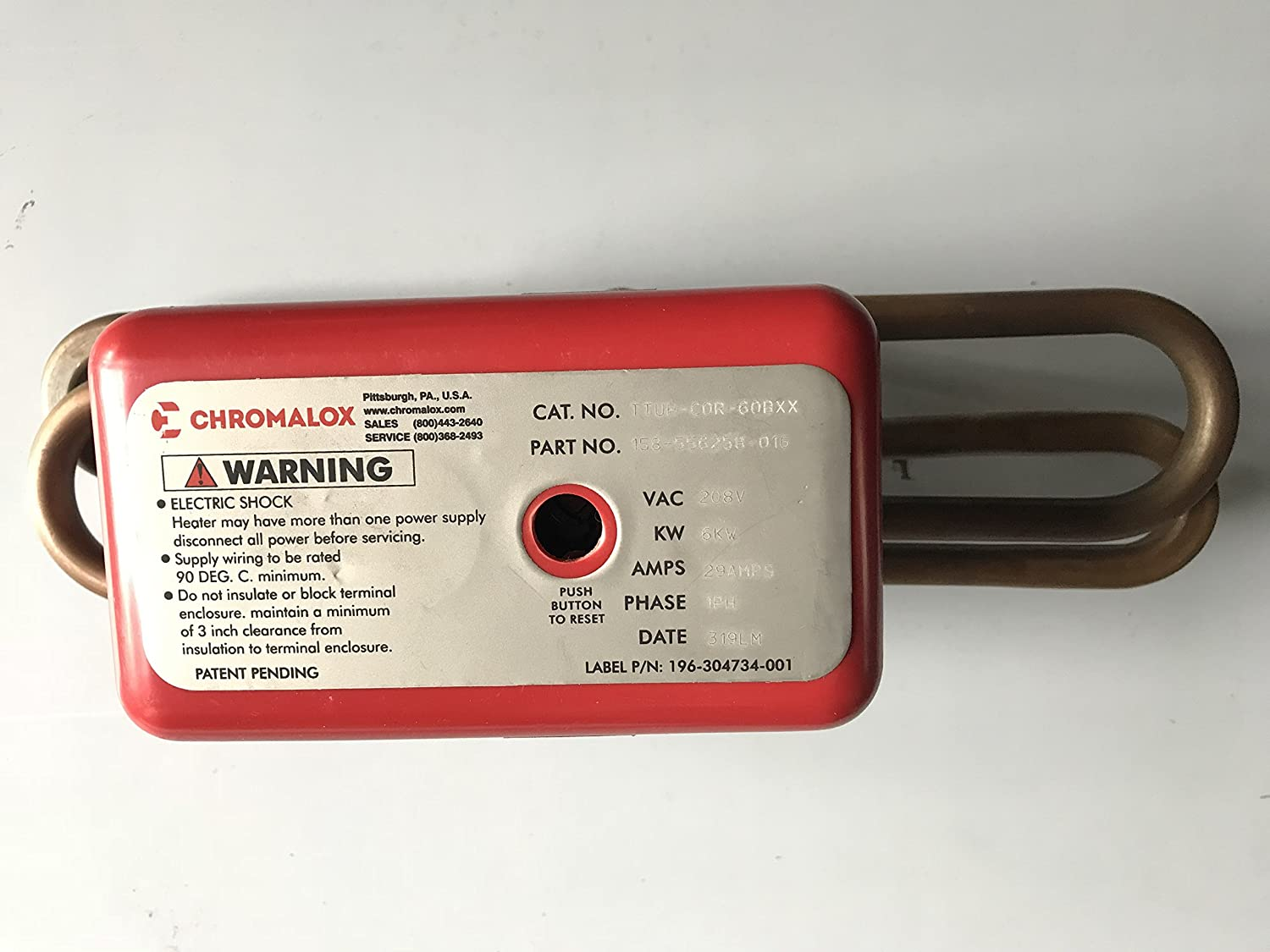 Chromalox TTUH-CO-50B 208V HEATING ELEMENT W/CUT OUT;208V 6000W
